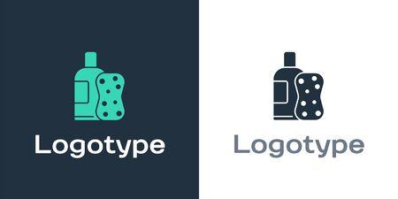 Logotype Bottle of shampoo and sponge icon isolated on white background. Logo design template element. Vector Illustration Ilustracja