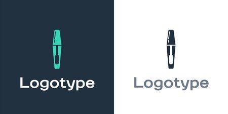 Logotype Mascara brush icon isolated on white background. Logo design template element. Vector Illustration