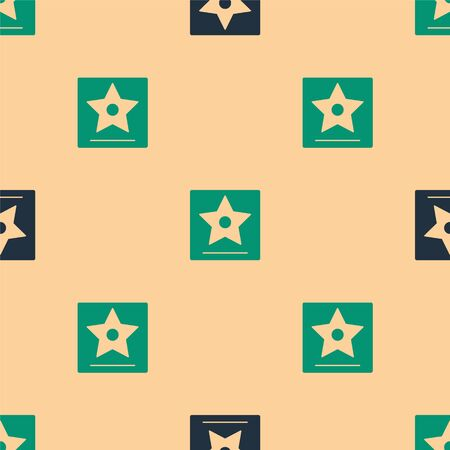 Green and black walk of fame star on celebrity boulevard icon isolated seamless pattern on beige background. Famous sidewalk, boulevard actor. Vector Illustration  イラスト・ベクター素材