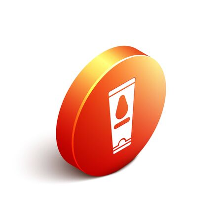 Isometric Personal lubricant icon isolated on white background. Lubricating gel. Cream for erotic sex games. Tube with package box. Orange circle button. Vector Illustration