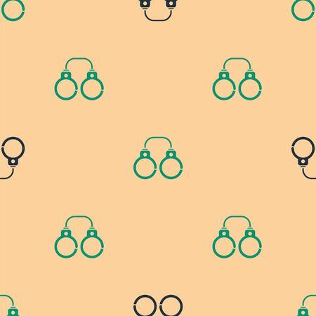 Green and black Sexy fluffy handcuffs icon isolated seamless pattern on beige background. Fetish accessory. Sex shop stuff for and masochist. Vector Illustration