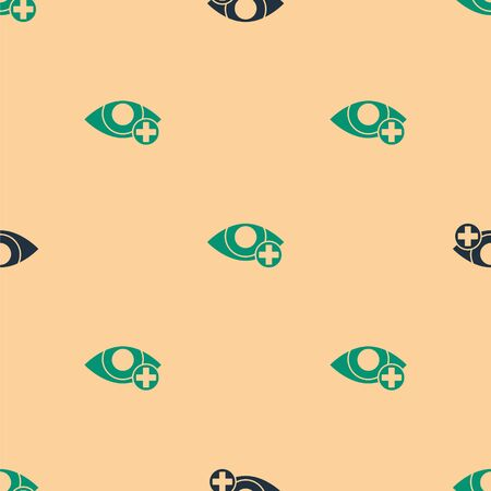 Green and black Red eye effect icon isolated seamless pattern on beige background. Eye redness sign. Inflammatory disease of eyes. Vector Illustration