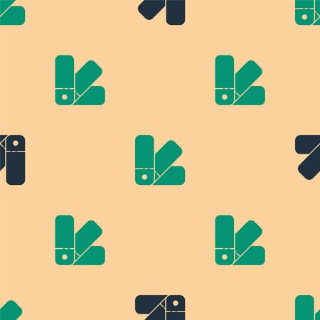 Green and black Color palette guide icon isolated seamless pattern on beige background. Vector Illustration