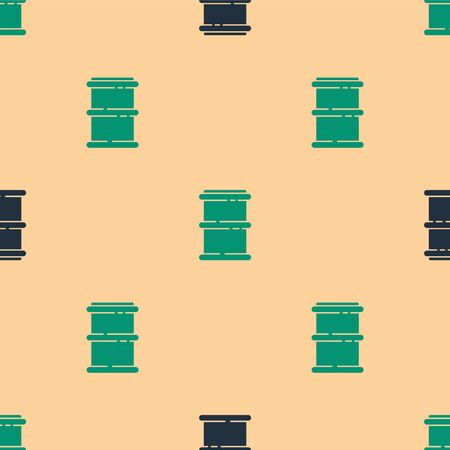 Green and black Barrel icon isolated seamless pattern on beige background. Vector Illustration