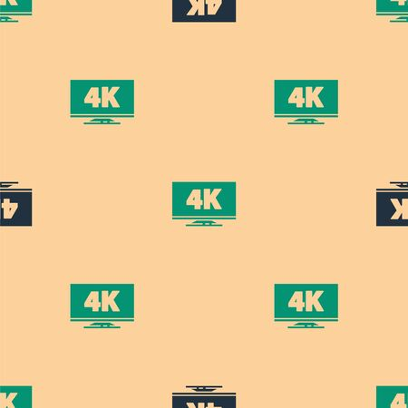 Green and black Screen tv with 4k Ultra HD video technology icon isolated seamless pattern on beige background. Vector Illustration