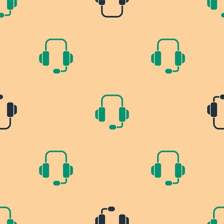 Green and black Headphones icon isolated seamless pattern on beige background. Support customer service, hotline, call center, faq, maintenance. Vector Illustration