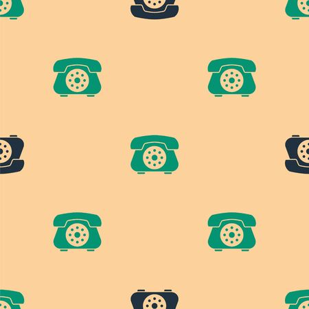Green and black Telephone icon isolated seamless pattern on beige background. Landline phone. Vector Illustration