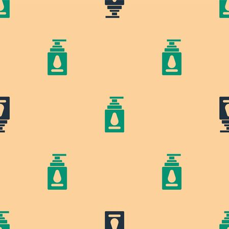 Green and black Personal lubricant icon isolated seamless pattern on beige background. Lubricating gel. Cream for erotic sex games. Tube with package box. Vector Illustration