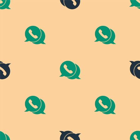 Green and black Telephone with speech bubble chat icon isolated seamless pattern on beige background. Support customer service, hotline, call center, faq. Vector Illustration