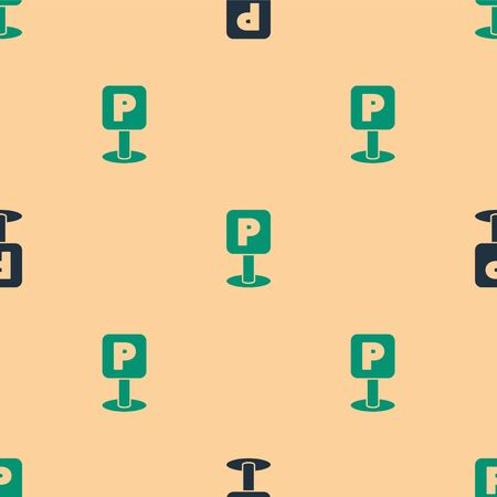 Green and black Parking icon isolated seamless pattern on beige background. Street road sign. Vector Illustration Çizim