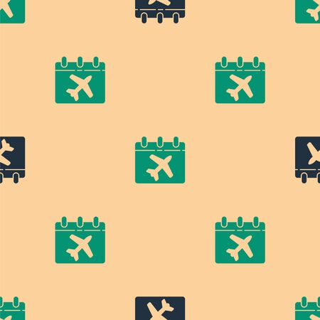 Green and black Travel planning calendar and airplane icon isolated seamless pattern on beige background. A planned holiday trip. Vector Illustration.
