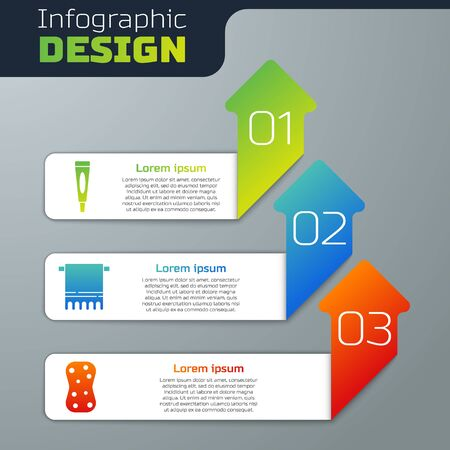 Set Cream or lotion cosmetic tube, Towel on a hanger and Sponge with bubbles. Business infographic template. Vector.