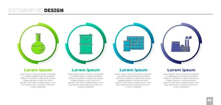 Set Oil petrol test tube, Barrel oil leak, Oil price increase and Oil industrial factory building. Business infographic template. Vector  イラスト・ベクター素材