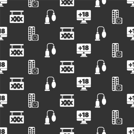 Set Monitor with 18 plus content, Birth control pills and condom, Sex shop and Penis pump on seamless pattern. Vector