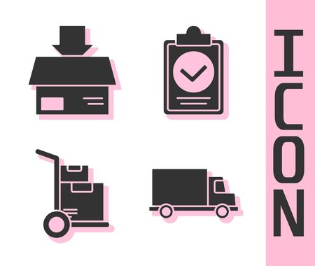 Set Delivery cargo truck vehicle, Carton cardboard box, Hand truck and boxes and Verification of delivery list clipboard icon. Vector