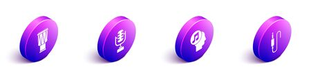 Set Isometric Drum, Microphone, Musical note in human head and Audio jack icon. Vector