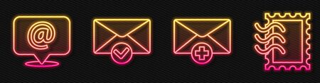 Set line Received message concept, Mail and e-mail on speech bubble, Envelope and check mark and Postal stamp. Glowing neon icon. Vector