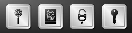 Set Magnifying glass Search, Fingerprint, Lock and key and Key icon. Silver square button. Vector
