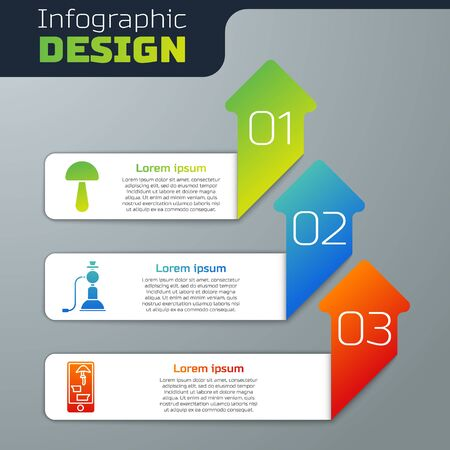 Set Psilocybin mushroom, Hookah and Buying drugs online on phone. Business infographic template. Vector Stock Illustratie