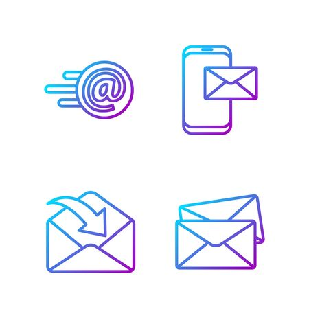 Set line Envelope, Envelope, Mail and e-mail and Mobile and envelope. Gradient color icons. Vector