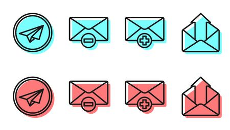 Set line Received message concept, Paper plane, Delete envelope and Outgoing mail icon. Vector  イラスト・ベクター素材