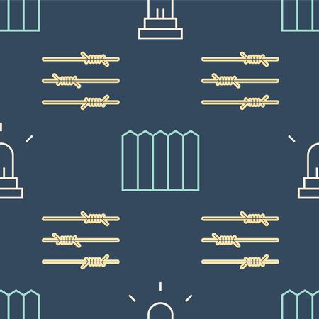 Set line Motion sensor, Barbed wire and Garden fence wooden on seamless pattern. Vector Stock Illustratie