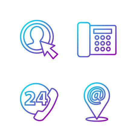 Set line Location and mail and e-mail, Telephone 24 hours support, Create account screen and Telephone. Gradient color icons. Vector