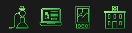 Set line Open matchbox and matches, Hookah, Buying drugs online on laptop and Medical hospital building. Gradient color icons. Vector