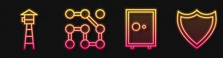 Set line Safe, Watch tower, Graphic password protection and Shield. Glowing neon icon. Vector