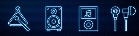 Set line Music player, Triangle musical instrument, Stereo speaker, Air headphones and Musical note in speech bubble. Glowing neon icon on brick wall. Vector