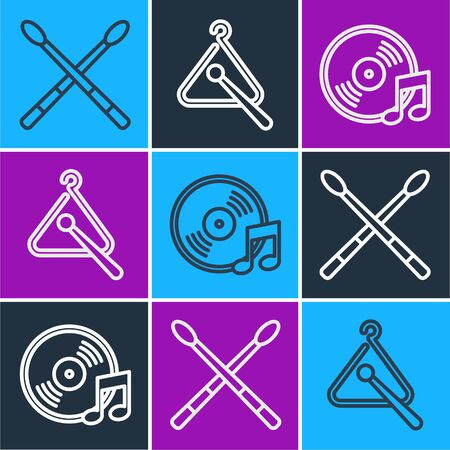 Set line Drum sticks, Vinyl disk and Triangle musical instrument icon. Vector