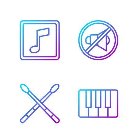 Set line Music synthesizer, Drum sticks, Music note, tone and Speaker mute. Gradient color icons. Vector