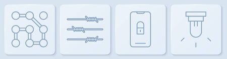 Set line Graphic password protection, Mobile with closed padlock, Barbed wire and Motion sensor. White square button. Vector Illustration
