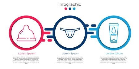 Set line Condom, Woman panties and Personal lubricant. Business infographic template. Vector