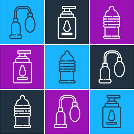 Set line Penis pump, Condom safe sex and Personal lubricant icon. Vector Stock Illustratie