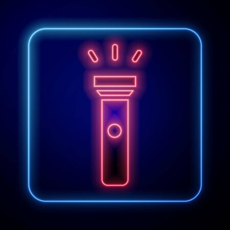 Glowing neon Flashlight icon isolated on blue background. Vector Illustration