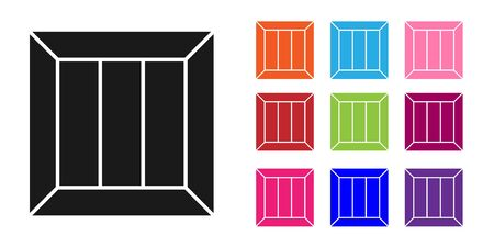 Black Wooden box icon isolated on white background. Set icons colorful. Vector Illustration