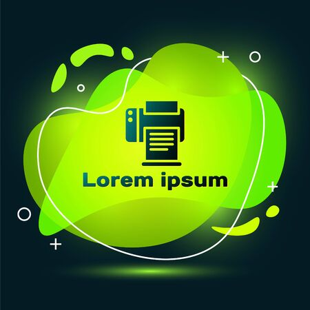 Black Printer icon isolated on black background. Abstract banner with liquid shapes. Vector Illustration