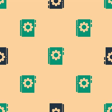 Green and black User manual icon isolated seamless pattern on beige background. User guide book. Instruction sign. Read before use. Vector Illustration