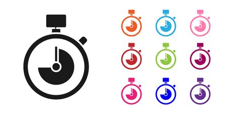Black Stopwatch icon isolated on white background. Time timer sign. Chronometer sign. Set icons colorful. Vector Illustration Ilustração