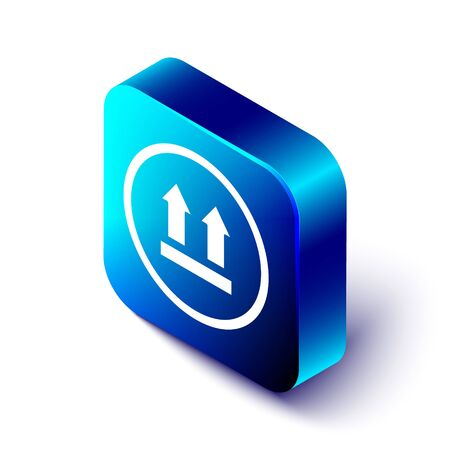 Isometric This side up icon isolated on white background. Two arrows indicating top side of packaging. Cargo handled. Blue square button. Vector Illustration Illustration