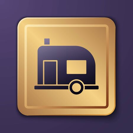 Purple Rv Camping trailer icon isolated on purple background. Travel mobile home, caravan, home camper for travel. Gold square button. Vector Illustration Çizim