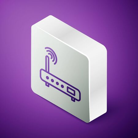Isometric line Router and wifi signal icon isolated on purple background. Wireless   modem router. Computer technology internet. Silver square button. Vector Illustration.