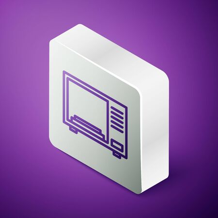 Isometric line Microwave oven icon isolated on purple background. Home appliances icon. Silver square button. Vector Illustration