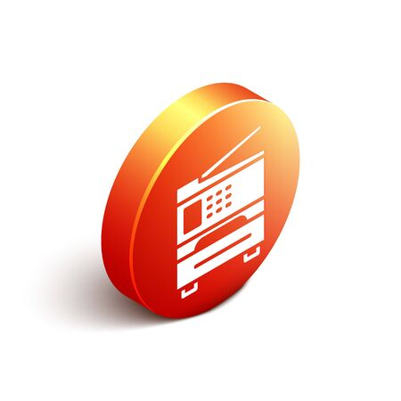 Isometric Printer icon isolated on white background. Orange circle button. Vector Illustration