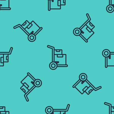 Black line Hand truck and boxes icon isolated seamless pattern on green background. Dolly symbol. Vector Illustration Illustration