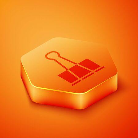 Isometric Binder clip icon isolated on orange background. Paper clip. Orange hexagon button. Vector Illustration