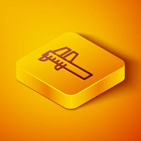 Isometric line Calliper or caliper and scale icon isolated on orange background. Precision measuring tools. Yellow square button. Vector Illustration Vector Illustration