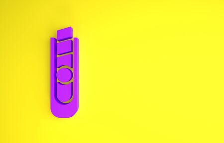 Purple Stationery knife icon isolated on yellow background. Office paper cutter. Minimalism concept. 3d illustration 3D render Banque d'images