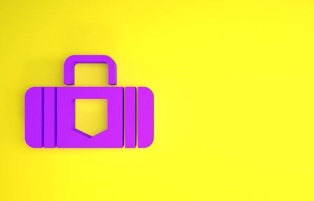 Purple Suitcase for travel icon isolated on yellow background. Traveling baggage sign. Travel luggage icon. Minimalism concept. 3d illustration 3D render Archivio Fotografico